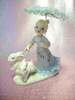 *SUPER RARE VTG Japan Blue Girl Angel Lace Parasol Walks Bunny Rabbits Gold Trim