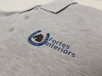 Personalised Polo Shirt Two Color Text Logo Print Work Uniform Workwear Company