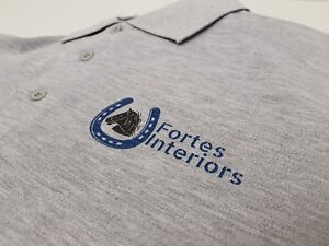 Personalised Printed Polo Shirt Color Text Logo Work Uniform Workwear Company