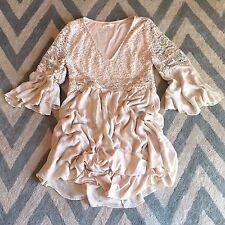 L New ANTHROPOLOGIE Women's Cream Crochet Lace Detail Boho Romantic Dress LARGE
