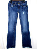 American Eagle Outfitters Size 0 Blue Denim Jeans Distressed Stretch Boyfriend