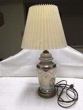 VINTAGE IRIDESCENT CARNIVAL GLASS HOLLYWOOD REGENCY FLOWER LAMP w/ VELLUM SHADE