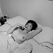 1950s Nude Brunette Lying in Bed with covers below breasts 8 x 8 Photograph