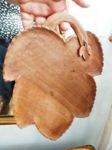 Vintage Hand Carved Wooden Fruit Bowl Plate Trivet Leaf