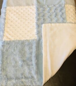Baby Essentials Blue White Patchwork Minky Dot Blanket Velour Chenille