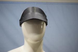 Genuine Black Cap Sun Visor Hat Hood Cosplay Carnival Halloween Leather Cuir