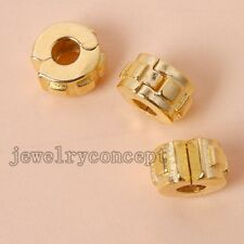 25x Bulk Lots Gold Plated Alloy Stopper Beads Charms Fit European Bracelet DIY J