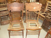 #61 - 2 Antique Pressed Back Chairs w/Rope Twist Spindles - Restoration - GREAT