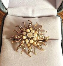 Antique Sunburst European Cut Diamond Seed Pearl Pin Brooch Pendant