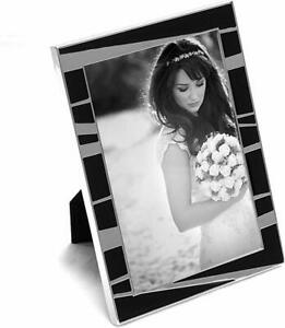 """Silver Plated & Black Encore Photo Frame with Easel Back, 4"""" x 6"""""""