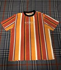 GUESS Originals Sayer Striped T Shirt Oversized Retro Embroidered Orange Large