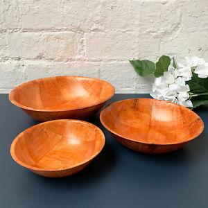 Vintage Woven Wood Round Serving Kitchen Wooden Fruit Snack Salad Storage Bowls