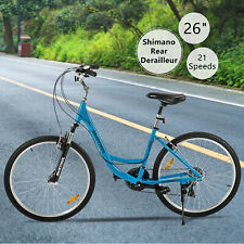 "26"" Aluminum Women Road Bike 21 Speeds Shimano Bicycle Front Suspension  Blue"