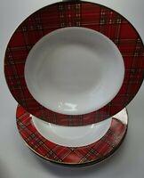 """PACIFIC RIM Tartan Plaid Christmas Porcelain Soup Bowls  8 .75 """" Set of 4 NICE !"""