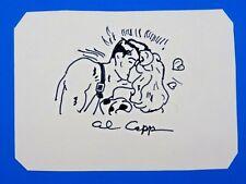AL CAPP SKETCH & SIGNED 3.5x5 CARD ~ ORIGINAL COMIC ART ~ 100% GUARANTEE Comic Art