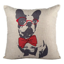 Cute Dog Throw Cushion Vintage Cotton Linen Pillow with eco friendly insert #4