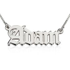 Personalized Old English Name Necklace - Sterling Silver Gothic Style Nameplate