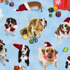Christmas Holiday Friends Dogs Ornaments Quilt Sew Fabric ELIZABETH STUDIO