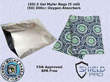 "20 - Mylar Bags 14""x20"" 2 gallon 5mil + (50) 300cc Oxygen Absorbers"
