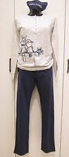 Happy People pigiama donna prim est, pecorella,pajamas.grigio blu 1734 Tg XL