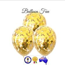 3x 11 ' GOLD CONFETTI BALLOONS BIRTHDAY PARTY SUPPLIES UNICORN Helium XMAS Gold