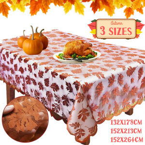 Maple Leaf Embroidered Lace Tablecloth Floral Table Cloth Cover Wedding