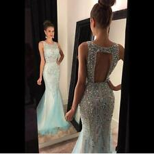 New Mermaid Beaded Long Evening Dress Formal Pageant Prom Party Ball Gown Custom