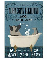Bath Soap Company Norwegian Elkhound Poster Art Print - Gift For Dog Lover