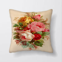 Vintage Roses Bouquet Cushion Covers Pillow Cases Home Decor or Inner