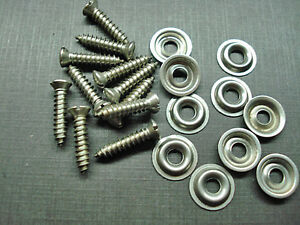 "10 pcs #8 x 3/4"" w/6 slotted oval stainless screws flange washers Fits Dodge"