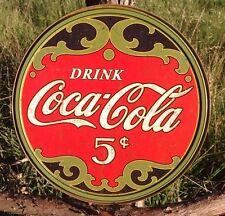 COKE Coca Cola Sign Tin Vintage Garage Bar Decor Old Round 5 Five Cents