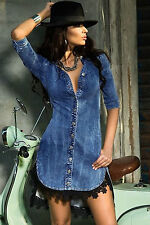 Abito aperto camicia merletto jeans Scollo Gonna Mini Lace Denim Shirt Dress M