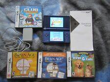 Nintendo DSi Matte Blue Handheld System + man + Power Supply+ 4 games test