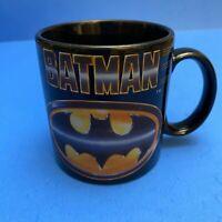Vintage DC Comics 1989 Batman Logo Black Coffee Mug Cup by Applause - Rare