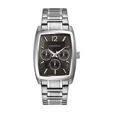 Caravelle Men's Quartz Black Dial Silver-Tone Rectangle Case 34mm Watch 43C118