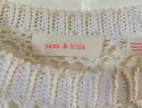 Sass & bide Kiss The Sky XS Knit Long Sleeve Top White With Asymmetrical Hem