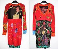 DESIGUAL #96V2826 Long Sleeve V-neck Bubble Hem Viscose-Cotton Dress size XS