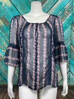 Lauren Conrad Women's Top Medium Sheer Floral Stripe Keyhole Neck Bell Sleeves