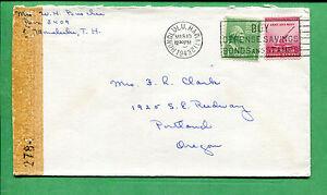 Censored Hawaii Cover - 1943 Honolulu to Portland OR W/ Slogan Cancel - S8456