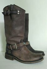 STEVE MADDEN 7.5M Ladies Leather Boots distressed faded Black FABBLE