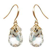 Navachi Water Drop Sapphire Clear Zircon Crystal 18K GP Hook Earrings BH2534