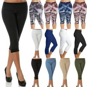 Lady Women Cropped Trousers 3/4 Length Skinny Stretch Capri Crop Pants Leggings