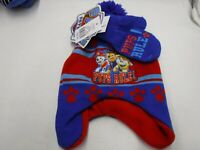 BOYS SIZE 2T-4T PAW PATROL PUPS RULE RED BLUE HAT & MITTENS WINTER NEW #16503