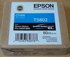 GENUINE EPSON T5802 Cyan (blue) cartridge ORIGINAL 80ml OEM 3800 3880 ink BNIB
