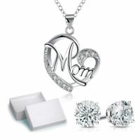 """Teeny Tiny MOM Pendant Necklace with White & Black Crystals Sterling Silver, 18"""""""