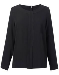 Brook Taverner Womens Roma Crepe De Chine Long Sleeve Blouse Black