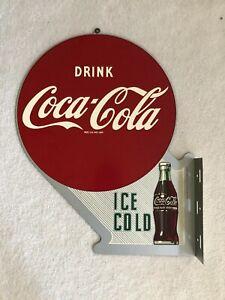 "Vintage, 1997 ""Reissue"" Coca-Cola, Coke 2-Sided Flange Sign, Excellent Condition"