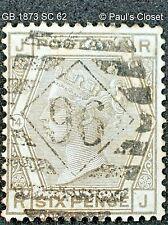 GB 1873 Sc 62 Queen Victoria 6p Gris D'Occasion N° Gomme Plaque 14 Fin / Très