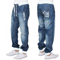 Ze Enzo Mens Regular Fit Denim Joggers Casual Cuffed Jeans Pants Trousers