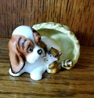 "Vintage Bone China Hound Dog Pup Pet Bed Basket Raccoon Napco USA Figurine 2.5"""